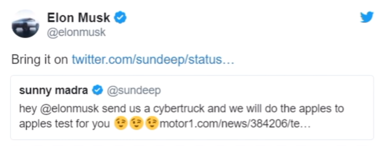 Elon Musk accept challenge with cybertruck
