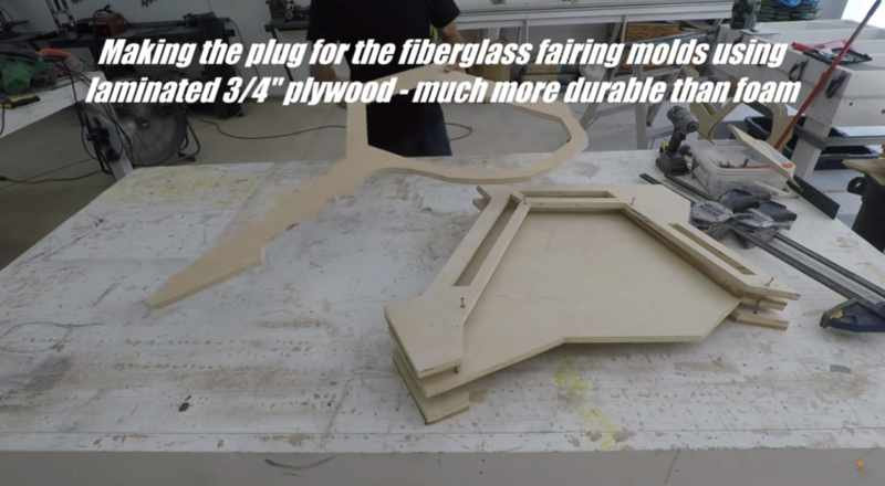 "Making the plug for the fiberglass fairing molds using laminated 3/4"" plywood - much more durable than foam"