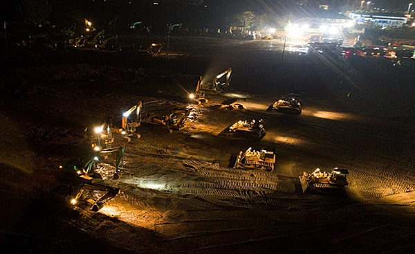 Drones create night-time construction environment