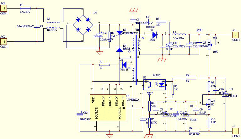 Schematic diagram of LED drive power supply