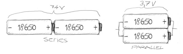18650 lithium-ion battery cell series and parallel connection