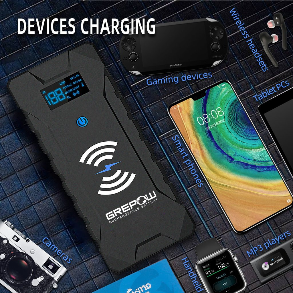 GREPOW 2000A Jump Starter with wireless charging