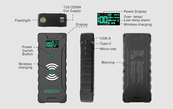 Grepow 2000A Jump Starter with wireless charge