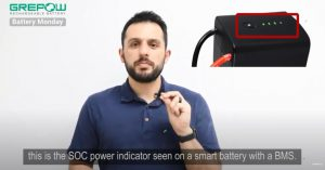 the SOC power indicator seen on a smart battery with a BMS | Grepow