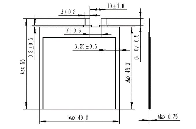 ultra thin battery structure GGP0449049-12A