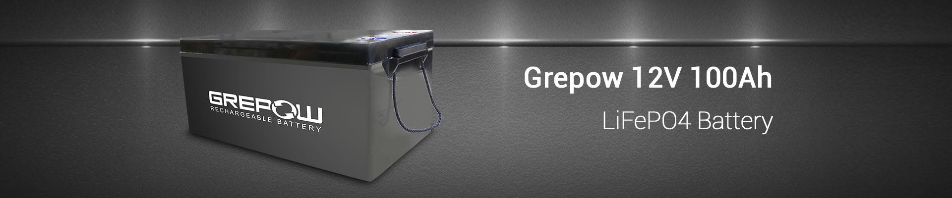 Grepow 12V 100Ah LiFePO4 battery banner