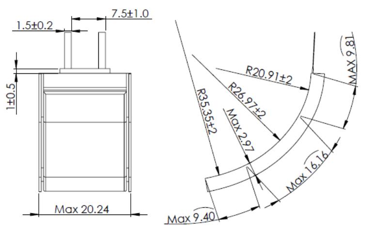 Grepow Curve Shaped LiPo Battery 3.8V 200mAh 3020035 structure