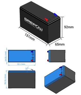 12.8V 7Ah Grepow LiFePO4 modular battery