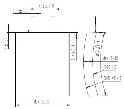 Grepow 3.85V 160mAh LiPo Curve Shaped Battery 3521024 struct