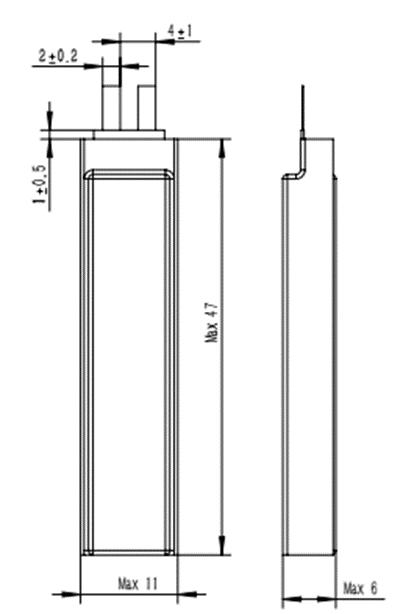 Grepow 220mAh 3.7V Rectangle Shaped Lipo Battery 6011047 struct