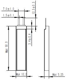 Grepow 250mAh 3.7V Rectangle Shaped Lipo Battery 5212050 struct
