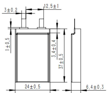 Grepow 450mAh 3.7V Rectangle Shaped Lipo Battery 6824037 struct