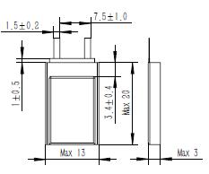 Grepow 37mAh 3.7V Rectangle Shaped Lipo Battery 3013020 struct