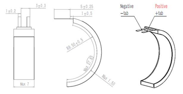Curved battery structure