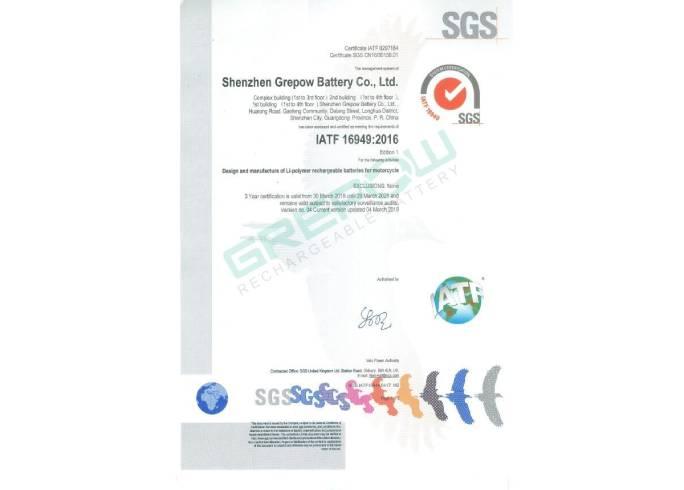 Grepow IATF16949-2016 Automotive Industry's International Standards
