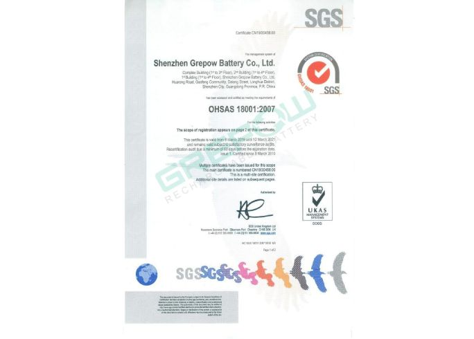 Grepow OHSAS 18001 Occupational Health and Safety Management System Certification