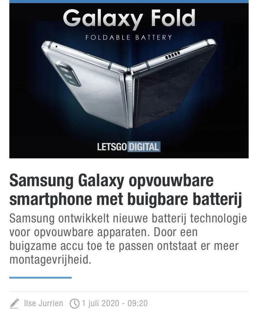 Samsung folded phone use a flexible bendable battery structure