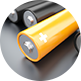 NiMH battery Usable in wide temperature range icon