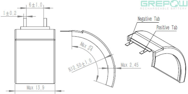 curved battery structure GRP2514024