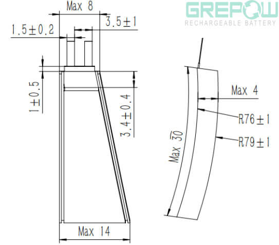 curved battery structure GRP4014030