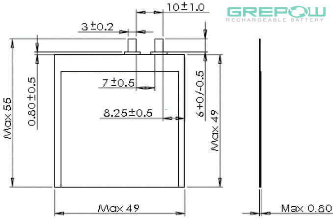 0.8mm Thickness Ultra thin battery structure GRP0849049