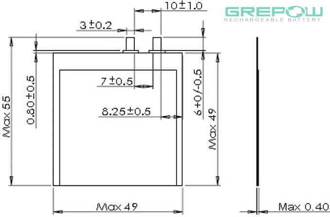 0.4mm Thickness Ultra thin battery structure GRP0449049