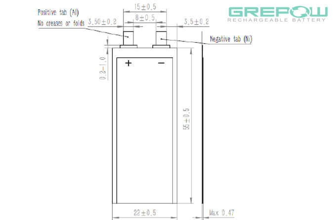 0.4mm Thickness Ultra thin battery structure GRP0422055