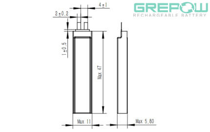 Ultra narrow battery structure GRP5811047