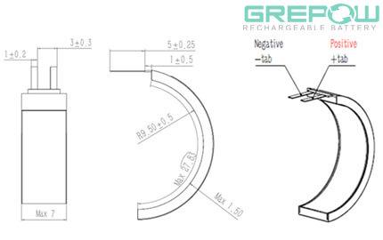 Ultra narrow battery structure GRP1507028