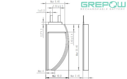 Ultra narrow battery structure GRP2410020