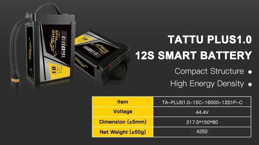 Tattu Plus1.0 16000mAh 12S Smart Drone Battery Compact Version