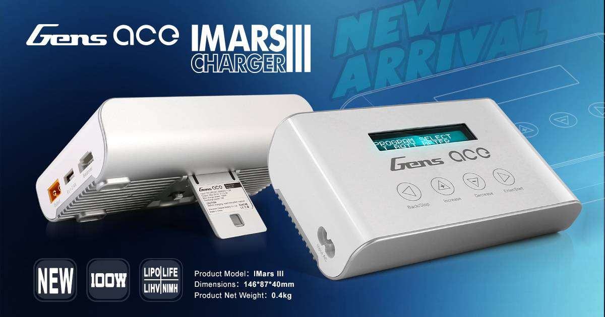 Gens ace's new IMARS III charger - light weight charger - portable lipo battery charger - Grepow