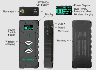 GREPOW Jump starter with wireless charge