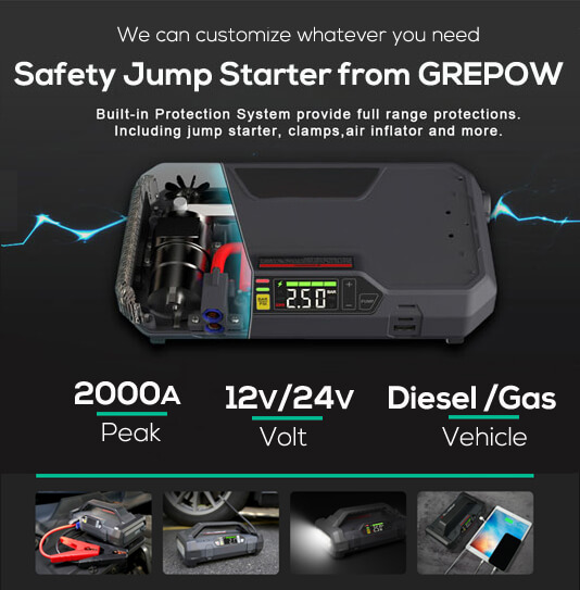 Cstom Safety Car Jump Starter-GREPOW