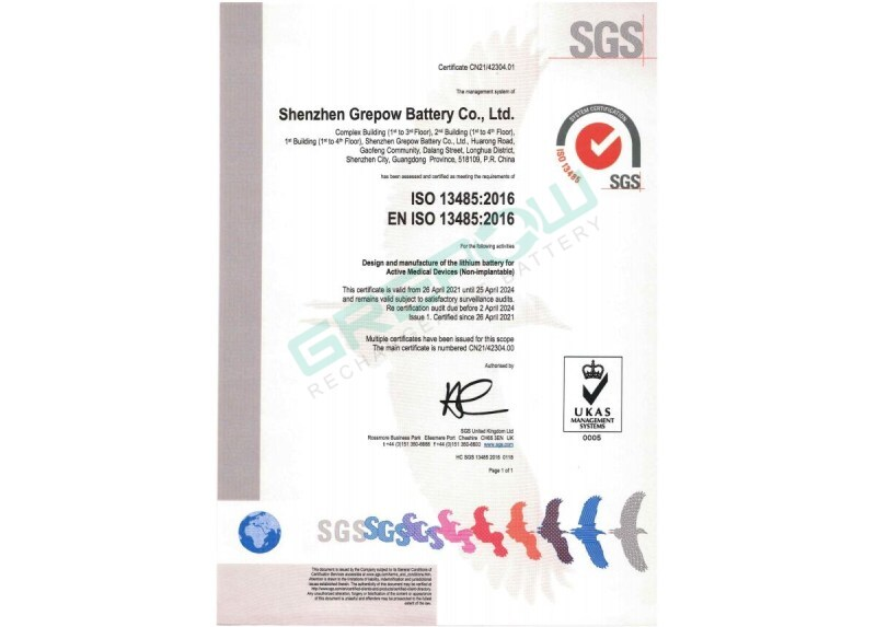 Grepow ISO 13485:2016 Medical devices - Quality management system Certification