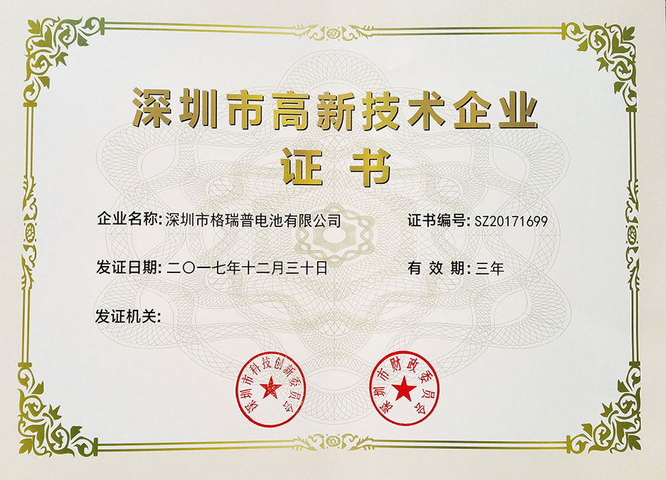 High-tech Enterprise Certificate in Shenzhen (Independent Certification)